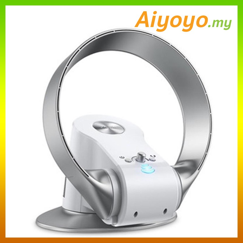 Silver White Sk Bladeless No Blade Leaf Electric Fan Desk Table Wall Floor Ceiling Laptop Office Store Home Folding Summer Speed Change Remote Control Shake Cooler Cooling Portable No Noise Design Air Condition Union Wind Stepless Clean Gentle Wind Safe