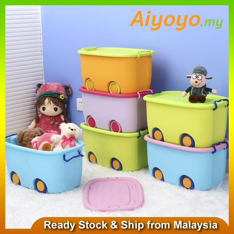 XL Size Multifunctions Stackable Toy Storage Box Wheel Cartoon Container Organizer Home Kid's Toy Colorful Multicolour Bin Large Capacity Children Household Portable Office Workplace Dining Bedroom Bedding Laundry