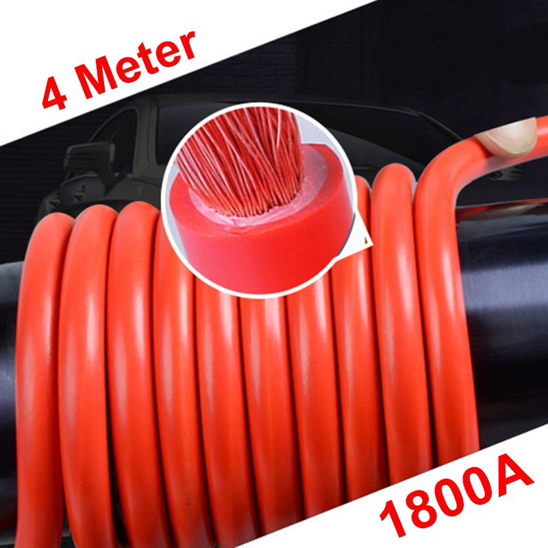 1800Amp 4m Car Battery Jump Start Cable Jumper Booster Charger Lorry Truck Emergency Repairing Hand Tool Workshop Repair Work Vehicle