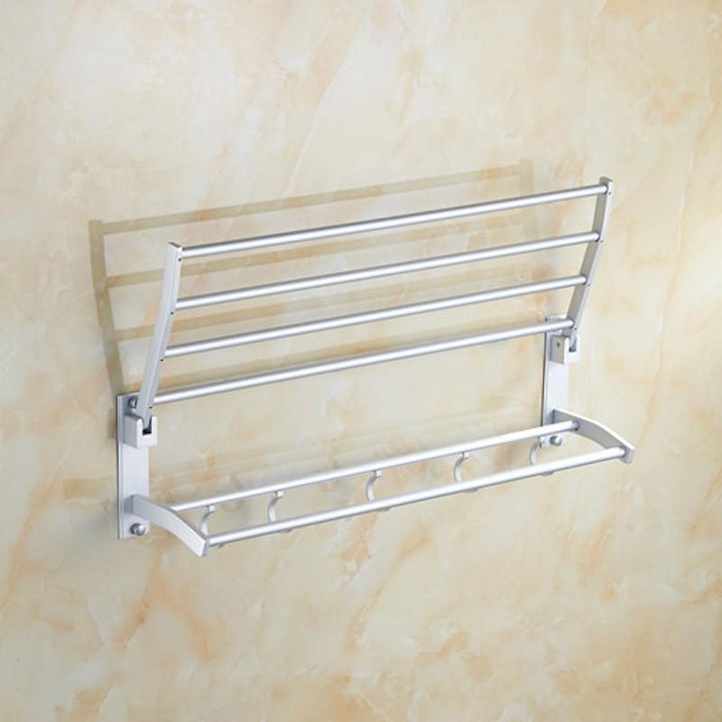 60cm Aluminium Foldable Towel Rack Bar Rail Hanger Wall Mounted Shelves Shelf Holder Rack Basket Organiser Hooks Hanger Kitchen Bathroom Toilet Laundry Lavatory Space Aluminium Anti-rust Stainless Steel Chromed