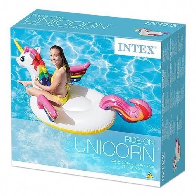INTEX Inflatable Unicorn Ride On Pool Float Swimming Pool Swimming Ring Swimming Float Baby Kids Pelampung Duduk 57561