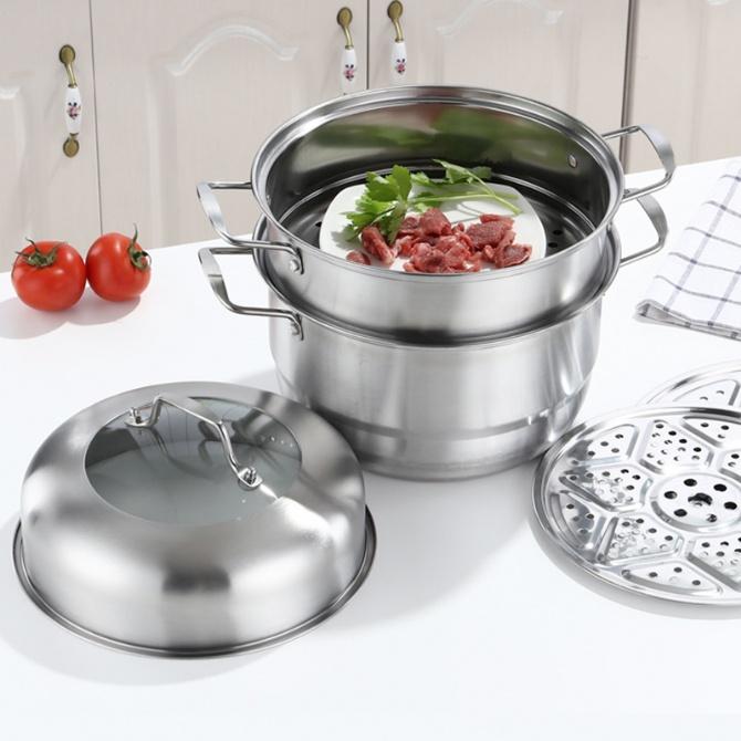 3 Layer Steam Pot Periuk Kukus Pengukus Steamer Cookware Periuk Masak Cooking Cooker Kitchen Stainless Steel Gas Stove Utensil Kuali