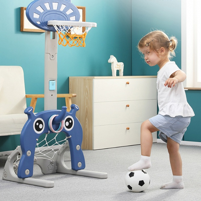 5 In 1 Indoor Children Basketball Stand Football Golf Soccer Ringtoss Combination Toy Kid Baby Home Sport Shooting Game Small Playground Playset Extra Safe Toy Girl Boy