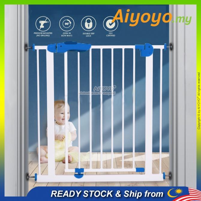 Baby Safety Gate Baby Auto Lock Safety Gate Pagar Tangga Bayi Pagar Bayi Staircase Door Dog Pet Gate Kid Children Door Fence Easy Walk Thru Gate Rust-Free Expandable