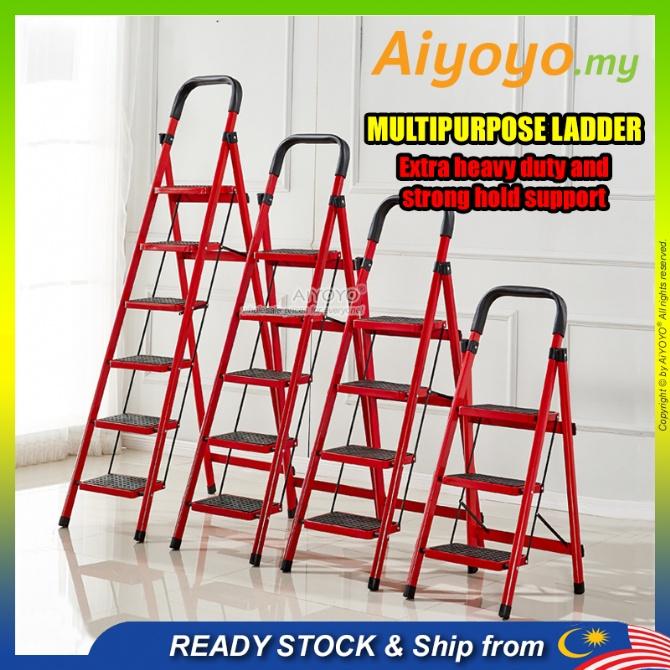 Heavy Duty Foldable Ladder Tangga Lipat Lightweight Multipurpose Folding Ladder 3 Step 4 Step 5 Step 6 Step Aluminium Stairs Steel Step Ladder Climbing Ladder Home Supermarket Shop Household Warehouse