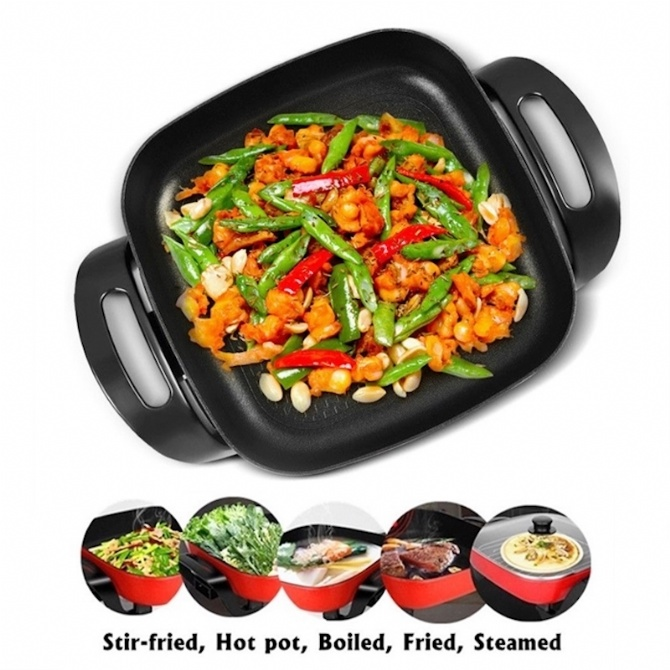 5L Electric Steamboat Electric Wok Electric Hot Pot Pan Non-Stick Periuk Masak Cooker Grill Fry Kitchen BBQ Barbecue Shabu-Shabu Student Cooking Steaming Frying Stew Cook Bake Boil Roast Household Cookware